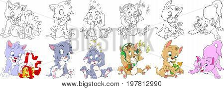 Cartoon animal set. Childish collection of cats and kittens with different emotions. Coloring book pages for kids.