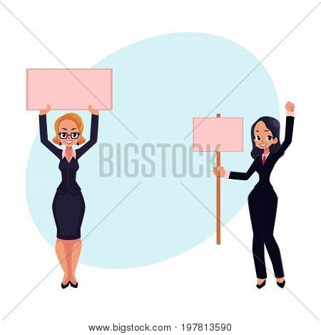 Two girls, women, businesswomen on strike holding empty boards in one and two hands, cartoon vector illustration with space for text. Two business women with empty board on strike