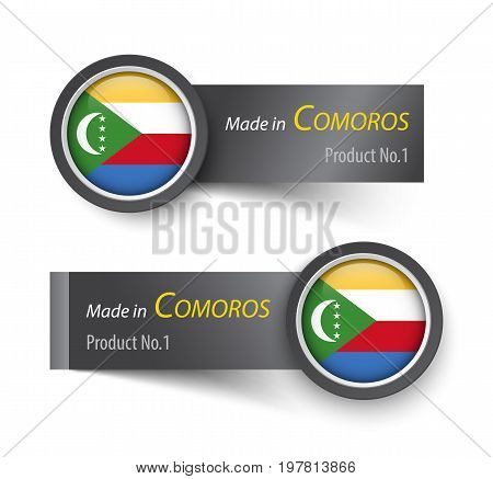 Flag Icon And Label With Text Made In Comoros .