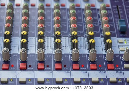 Buttons On Sound Mixer Control Panel