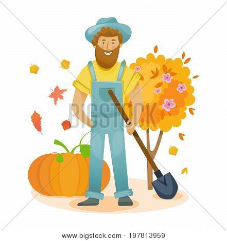 Garden elements. Autumn organic farm. Agriculture and farming. Autumn agribusiness. Farmer and farmland, village with gardens, greenery, harvest and grain, organic products. Vector illustration isolated.