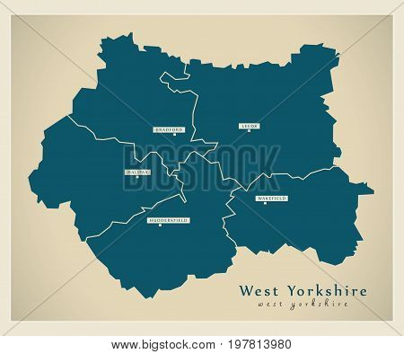Modern Map - West Yorkshire Metropolitan County With Cities And Districts England Uk