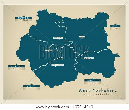 Modern Map - West Yorkshire Metropolitan County With District Labels England Uk