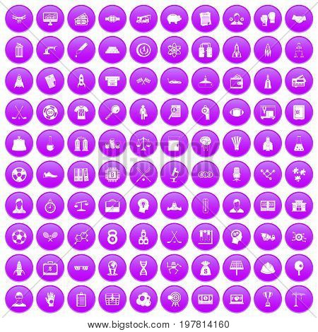 100 success icons set in purple circle isolated on white vector illustration
