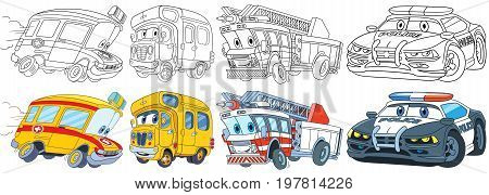 Cartoon transport set. Collection of vehicles. Ambulance school bus fire truck police car. Coloring book pages for kids.