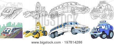 Cartoon transport set. Collection of vehicles. Suburban electric train high speed racing car white limousine (limo) off-road jeep. Coloring book pages for kids.