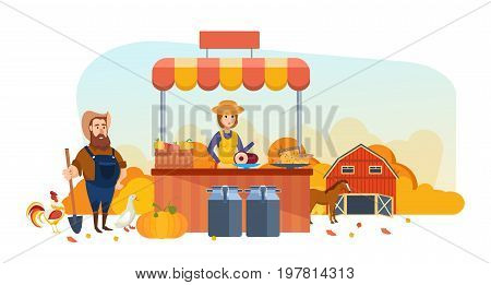 Autumn organic health shop. Pure natural food, agriculture, clean environment, farming, shopping. Cashier sells products, next to farmer. Autumn farmer market. Vector illustration in cartoon style.