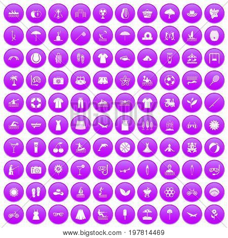 100 summer icons set in purple circle isolated on white vector illustration