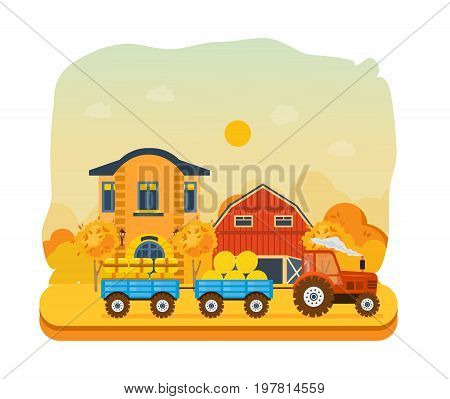 Agriculture and farming. Autumn agribusiness. Farm and farmland, village with gardens, greenery, harvest and grain, hay, organic products. Autumn rural landscape. Vector illustration isolated.