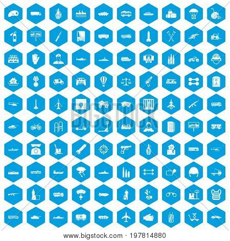 100 burden icons set in blue hexagon isolated vector illustration