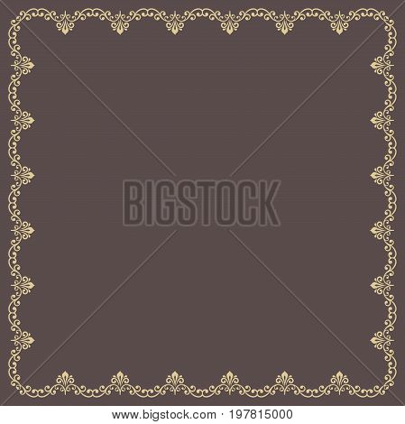 Classic golden square frame with arabesques and orient elements. Abstract ornament with place for text. Vintage pattern