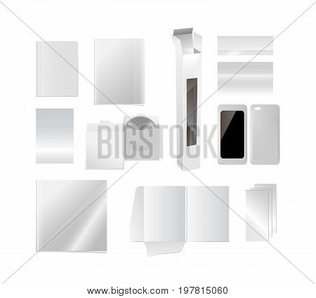 Set of realistic template of cover for books, magazines, flyers, banners, CDs, phone cases, glossy catalogs, wine boxes, business cards. Vector illustration isolated on white background.
