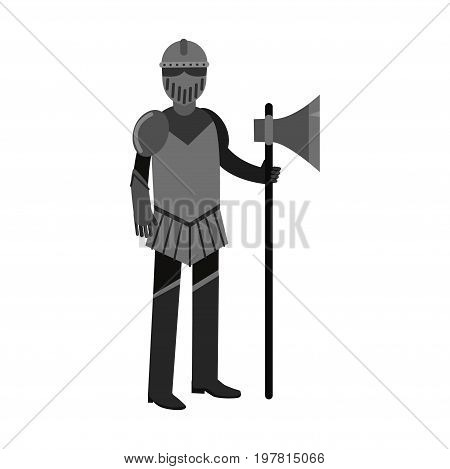 Medieval knight character full body armor suit colorful vector Illustration on a white background