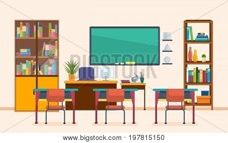 School classroom with chalkboard and desks. Class for education, board, table and study, blackboard and lesson. Interior of modern school class. Workplace. Vector illustration