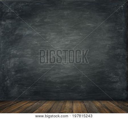 Blackboard Wall Wood Floor Background School Black Board Wooden Classroom Interior