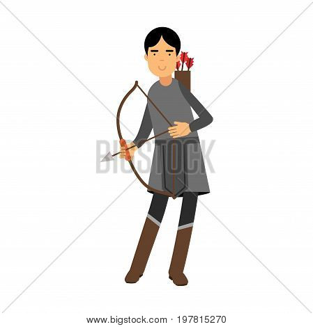 Archer in medieval outfit colorful character vector Illustration on a white background