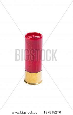 Red bullet for a shotgun with a large shot on a white background