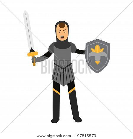Medieval amed knight character standing with shield and sword, colorful vector Illustration on a white background