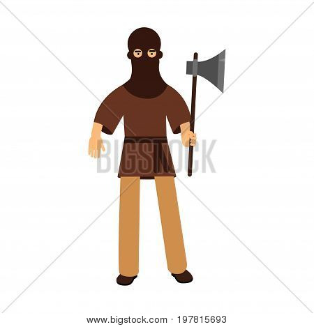 Medieval executioner character standing with ax colorful vector Illustration on a white background