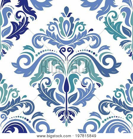 Oriental classic blue colored pattern. Seamless abstract background with repeating elements. Orient background
