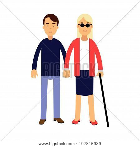 Young blonde blind woman in dark glasses with stick and helper colorful vector Illustration on a white background
