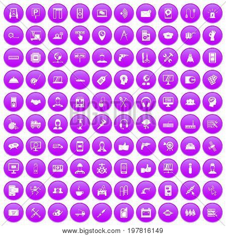 100 support center icons set in purple circle isolated on white vector illustration