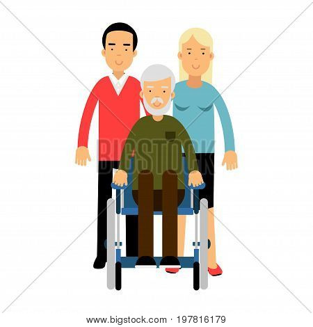 Happy disabled senior man with his family colorful vector Illustration on a white background
