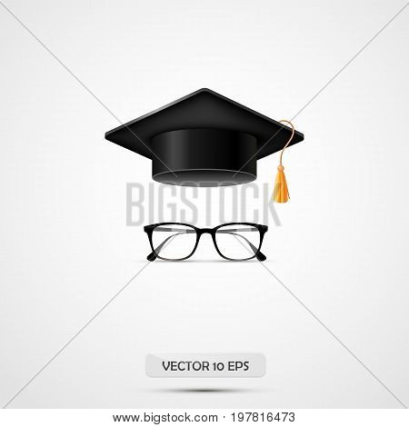 Education hat and eyeglasses. Vector illustration. White background. Graduate cup. Student accessories