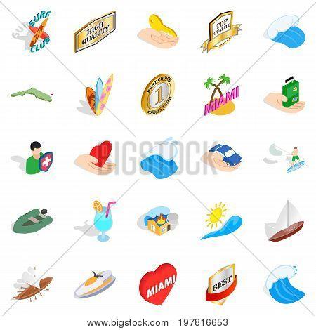 Travel via boat icons set. Isometric set of 25 travel via boat vector icons for web isolated on white background