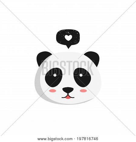 Panda with speech bubble. Vector illustration. White background. Panda head with chat balloon and heart symbol.