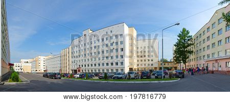 VITEBSK BELARUS - JULY 13 2016: Vitebsk State Order of Friendship of Peoples medical university and dormitory 4 5. Unknown students are on campus territory