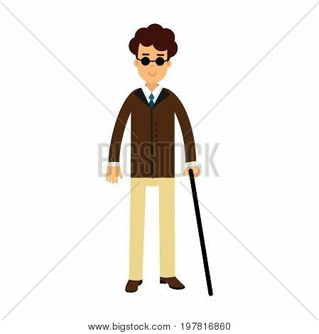 Blind young man in dark glasses and walking stick colorful vector Illustration on a white background
