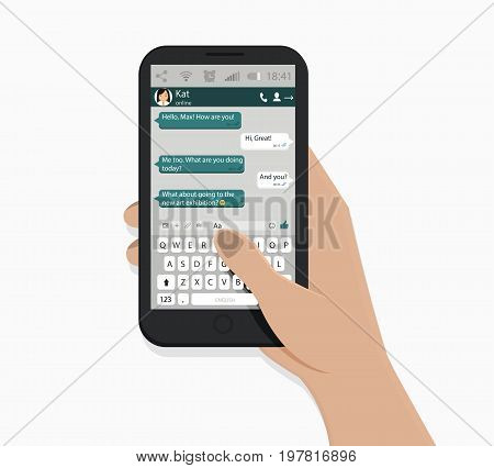 Hand holding smartphone. Vector illustration. White background. Green speech bubbles. Chating and messaging concept.