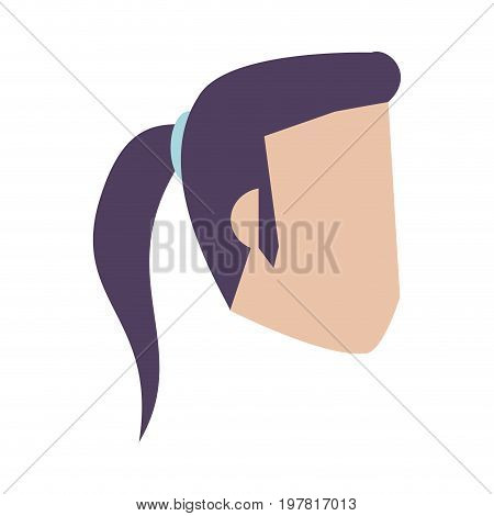 head of woman wearing ponytail avatar icon image vector illustration design