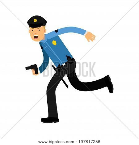 Police officer character in a blue uniform running with gun vector Illustration on a white background