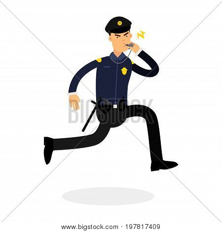 Police officer character in a blue uniform running and whistling vector Illustration on a white background