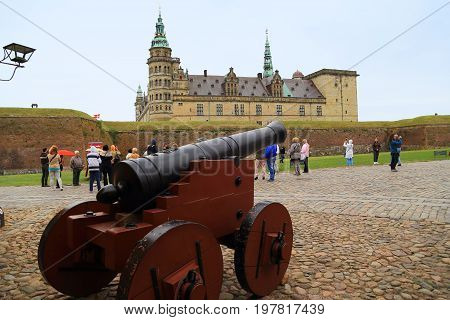 HELSINGOR, DENMARK - JUNE 30, 2016: This is the Kronborg Castle which is known by the name