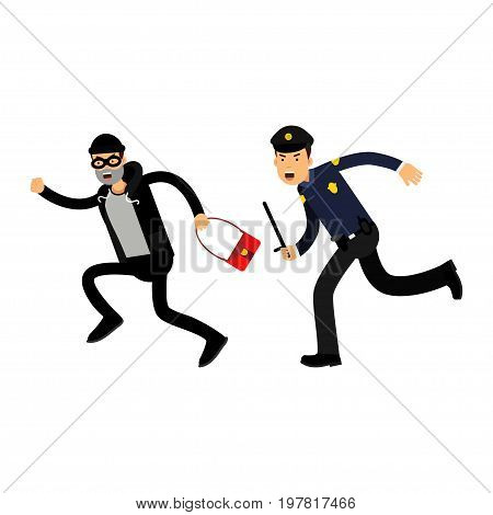 Police officer in a blue uniform with truncheon chasing a thief with stolen bag, colorful characters vector Illustration on a white background