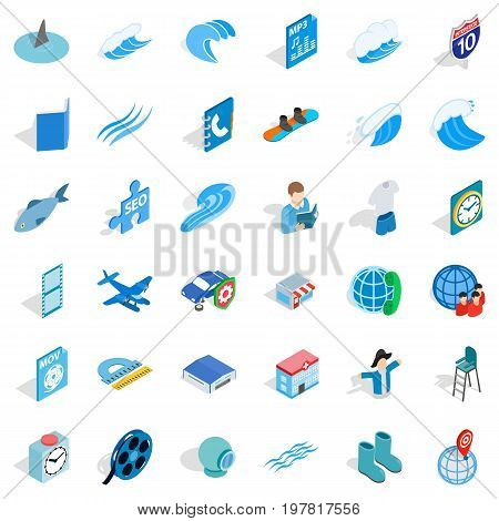 Blue set icons set. Isometric style of 36 blue set vector icons for web isolated on white background