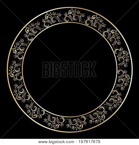 Golden frame vector ornamental, elegant, black, flower, elegance, sign, baroque, turkish
