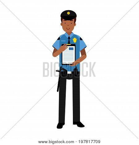 Policeman character in a blue uniform holding clipboard with form for police report vector Illustration on a white background
