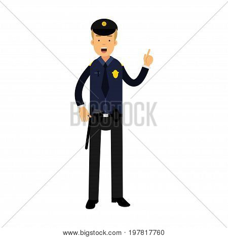 Police officer character in a blue uniform with raised index finger vector Illustration on a white background