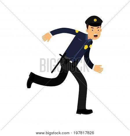 Police officer character in a blue uniform running vector Illustration on a white background