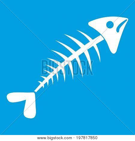 Fish bone icon white isolated on blue background vector illustration