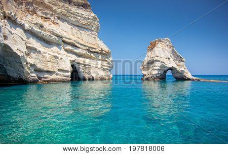Rock Formations And Sea Caves At Kleftiko Shoreline In Milos, Greece