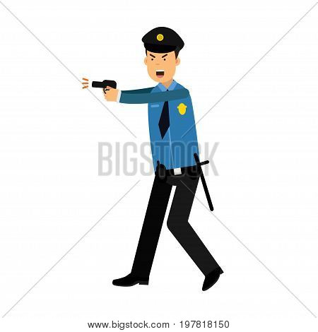 Police officer character in a blue uniform aiming a gun vector Illustration on a white background