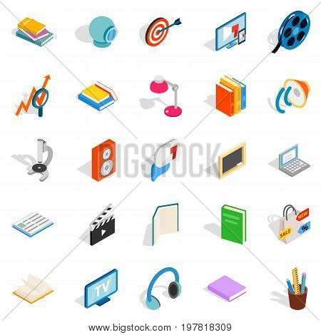 Tutorial icons set. Isometric set of 25 tutorial vector icons for web isolated on white background