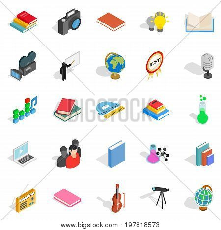 Schoolbook icons set. Isometric set of 25 schoolbook vector icons for web isolated on white background