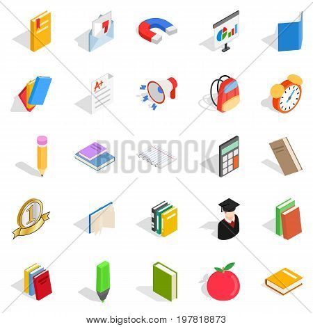 Textbook icons set. Isometric set of 25 textbook vector icons for web isolated on white background
