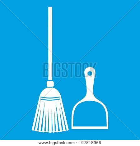 Broom and dustpan icon white isolated on blue background vector illustration